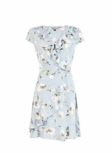 Womens **Billie & Blossom Grey Floral Print Wrap Dress- Grey, Grey