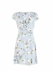 Womens **Billie & Blossom Grey Floral Print Wrap Dress, Grey