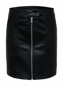 Womens **Only Black Faux Leather Skirt- Black, Black