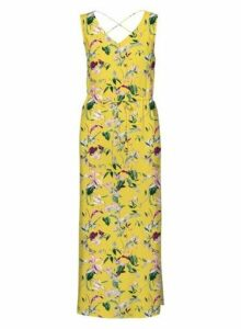 Womens **Vero Moda Yellow Floral Print Maxi Dress, Yellow