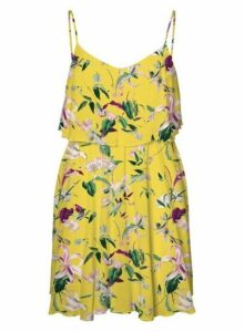 Womens **Vero Moda Yellow Floral Print Camisole Dress, Yellow