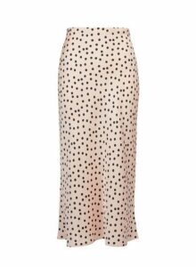 Womens Petite Blush Spot Satin Midi Skirt- Pink, Pink