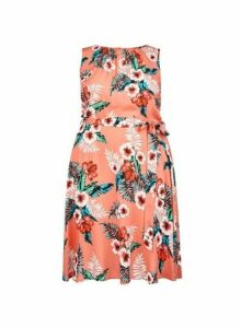 Womens **Billie & Blossom Curve Coral Tropical Print Dress- Coral, Coral