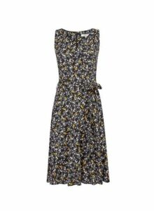 Womens **Billie & Blossom Tall Black Ditsy Print Dress- Black, Black
