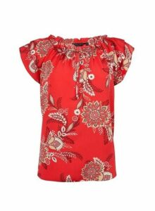 Womens Red Floral Print Tie Neck Top- Red, Red