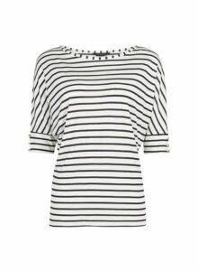 Womens Ivory Stripe Print Button Detail Top- White, White