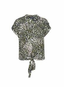 Womens Khaki Camouflage Print Tie Front Top- Khaki, Khaki