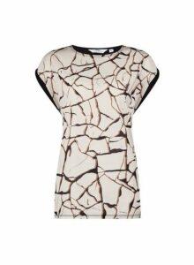 Womens **Tall Black Crackle Print Woven Top- Black, Black