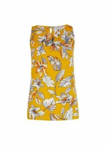 Womens **Billie & Blossom Yellow Floral Print Shell Top- Orange, Orange