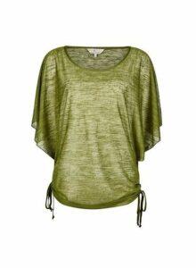 Womens **Billie & Blossom Khaki Ruched Side Top- Green, Green