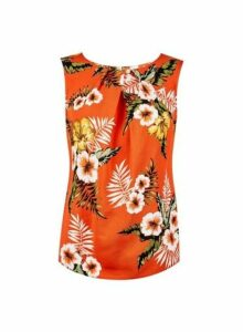 Womens **Billie & Blossom Petite Orange Tropical Print Shell Top- Orange, Orange