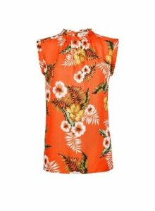 Womens **Billie & Blossom Tall Orange Tropical Print Ruffle Shell Top, Orange