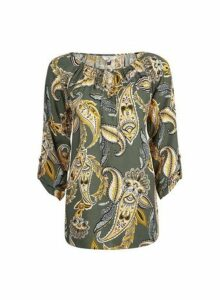 Womens **Billie & Blossom Tall Paisley Tie Neck Top- Khaki, Khaki
