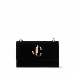BOHEMIA Black Velvet Clutch Bag with Chain Strap