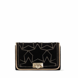 HELIA CLUTCH Black Star Matelassé Velvet Clutch with Gold Studs
