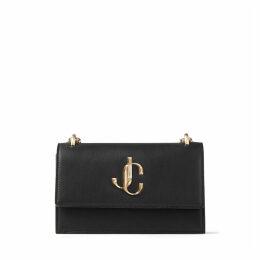 BOHEMIA Black Calf Leather Clutch Bag with Chain Strap