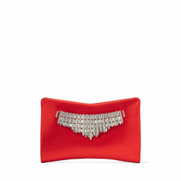 VENUS Red Satin Clutch Bag with Tiara Crystals