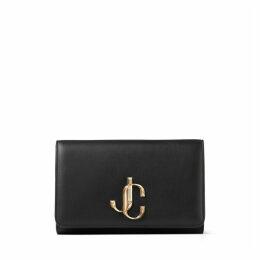 VARENNE CLUTCH Black Calf Leather Clutch Bag with Gold JC Logo