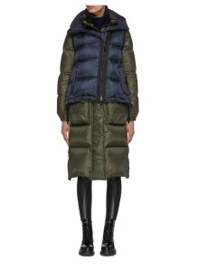 Layered colourblock vest panel hooded down puffer coat
