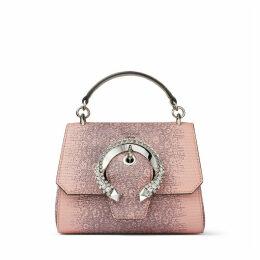 MADELINE TOP HANDLE/S Sac avec anse en cuir rose ballerine à imprimé lézard avec boucle sertie de cristaux