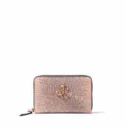 CHRISTIE Portefeuille zippé en cuir rose ballerine à imprimé lézard