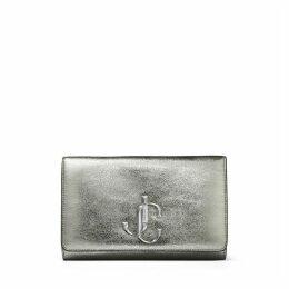 VARENNE CLUTCH Pochette en étoffe acier métallisée avec logo JC