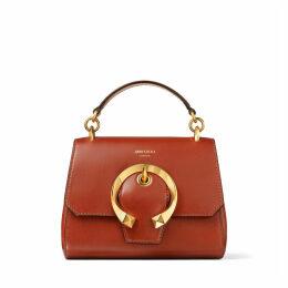 MADELINE TOP HANDLE/S Handtasche aus rostfarbenem Ziegen- und Kalbsleder mit Tragegriff und Metallschnalle