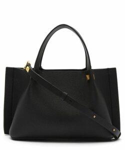Small V-Logo Escape Leather Tote Bag