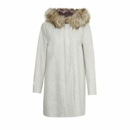 French Connection Platform Felt Faux Fur Hood Coat