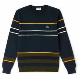 Lacoste Crew Neck Striped Milano Cotton Sweatshirt