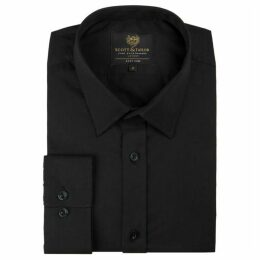 Scott and Taylor Black Poplin Regular Fit Shirt