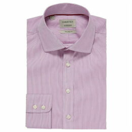 Chester Barrie Hairline Stripe Tailored Fit Shirt Purple