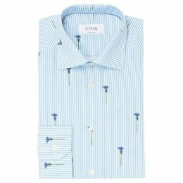 Eton Bengal Stripe Flower Print Contemporary Fit Shirt