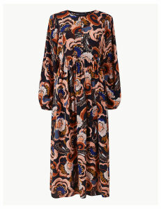 M&S Collection Bib Detail Floral Relaxed Fit Midi Dress