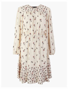 M&S Collection Printed Knee Length Waisted Dress