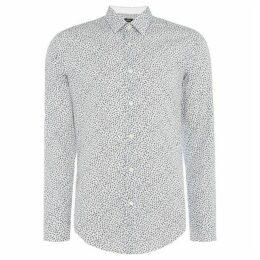 Boss Ronni 53 mini leaf print slim fit shirt