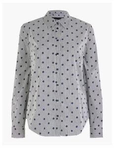 M&S Collection Pima Cotton Slim Fit Striped Star Print Shirt