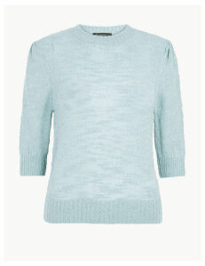M&S Collection Cotton Rich Textured Boucle Round Neck Top
