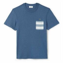Lacoste Crew Neck Striped Pocket Cotton Jersey T-Shirt