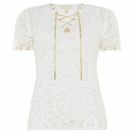 MICHAEL Michael Kors Emb mesh lacing top