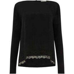 Marella Black silk front top with lace detail