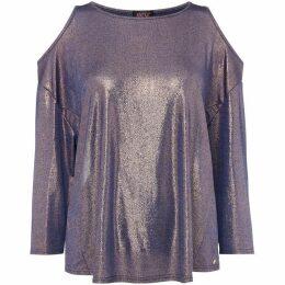 Biba Cold shoulder shimmer jersey top