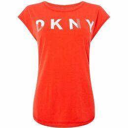 DKNY Curved hem logo top