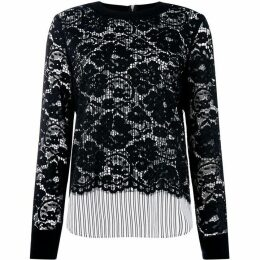 DKNY Mock neck top with lace detail