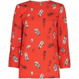 Whistles Feather Print Millie Frill Top