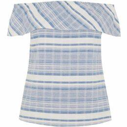 Oasis Stripe Bardot Frill Top