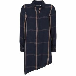 Mint Velvet Navy Check Asymmetric Tunic