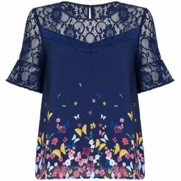 Yumi Butterfly Printed Lace Top With Zip