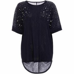 Quiz Navy Embellished Batwing Top