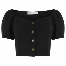 Oasis Button Puff Sleeve Crop Top